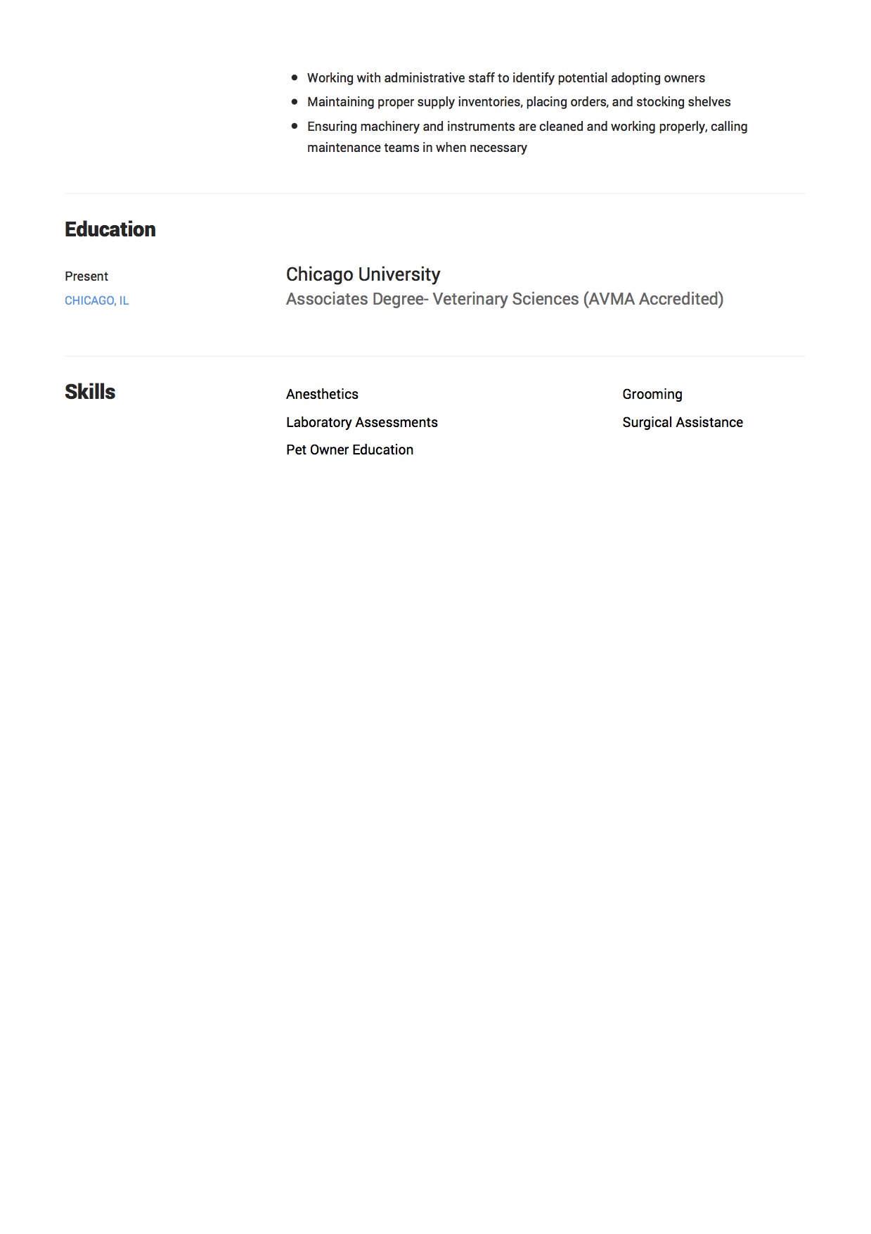 Vet Tech Resume Examples 12 Veterinary Technician Resume Sample S 2018 Free