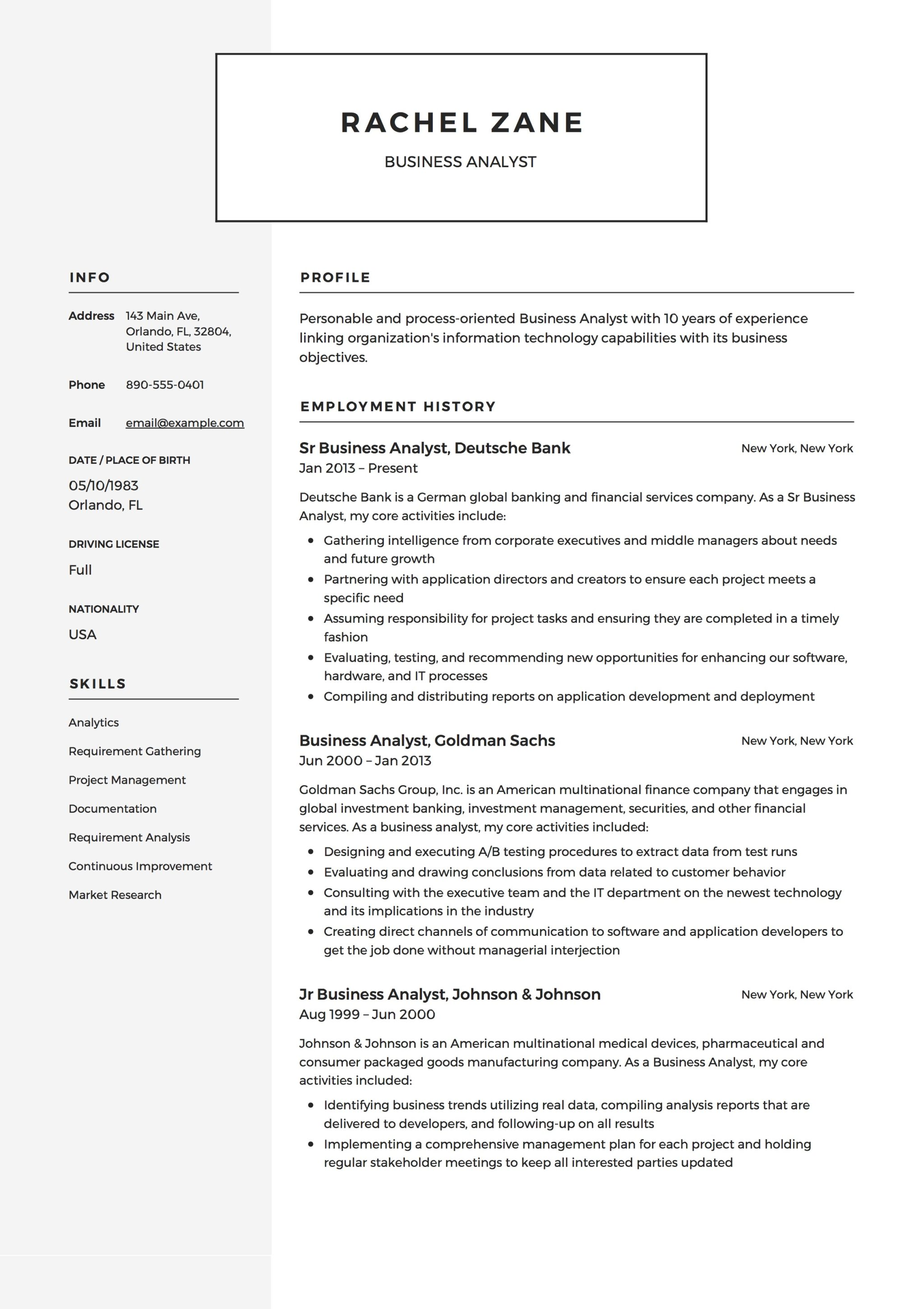 Functional Business Analyst Resume Resume Template Business Analyst Resumeviking