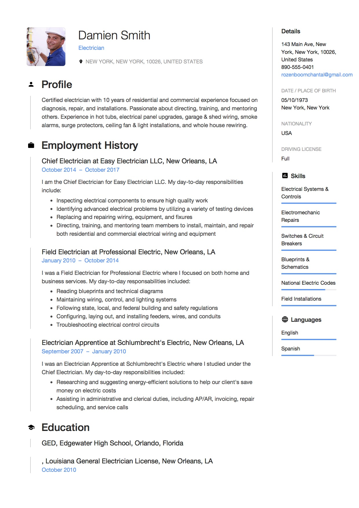 Apprentice Electrician Resume Resume Templates For Electricians Sarahepps