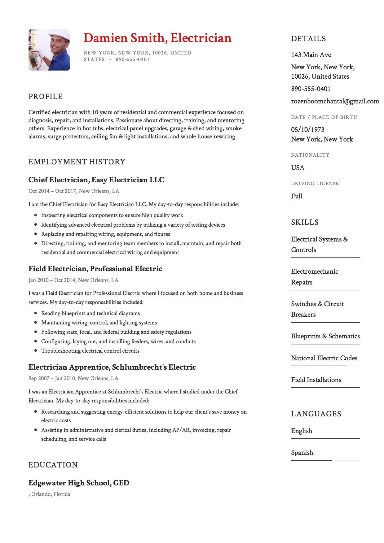 Electrical Resume Format 12x Free Electrician Resume Template