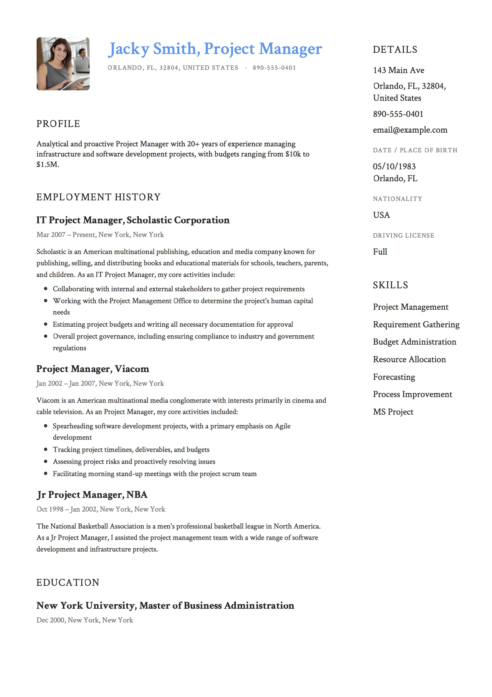 Project Manager Resume Sample 12 Project Manager Resume Sample S 2018 Free Downloads
