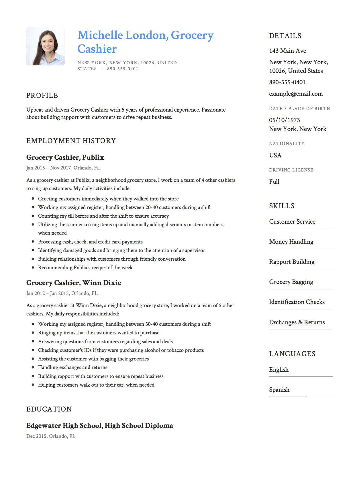 Cashier Resume Description 12 Grocery Cashier Resume Sample S 2018 Free Downloads