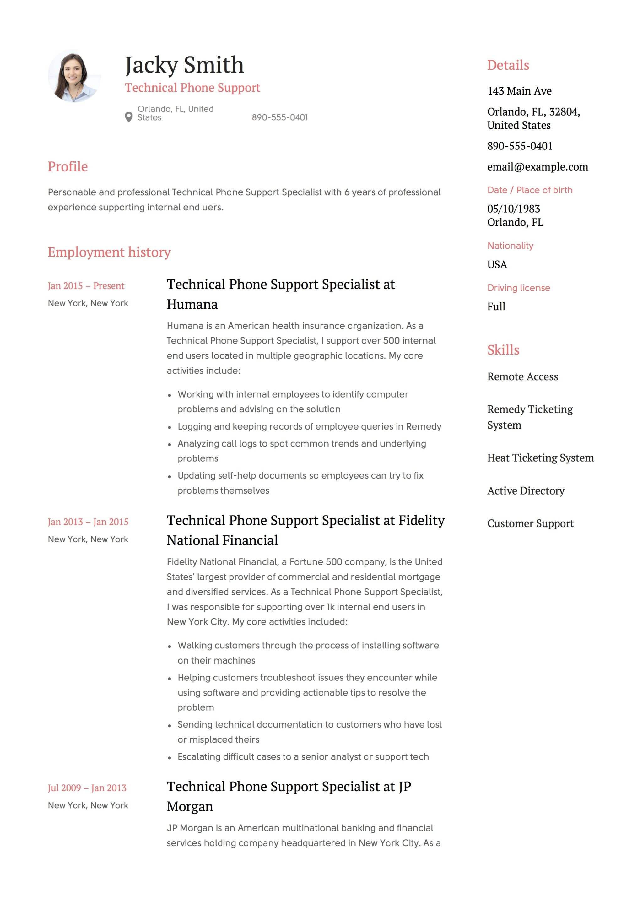 Technical Support Resume Sample Template Resume Technical Phone Support Resumeviking
