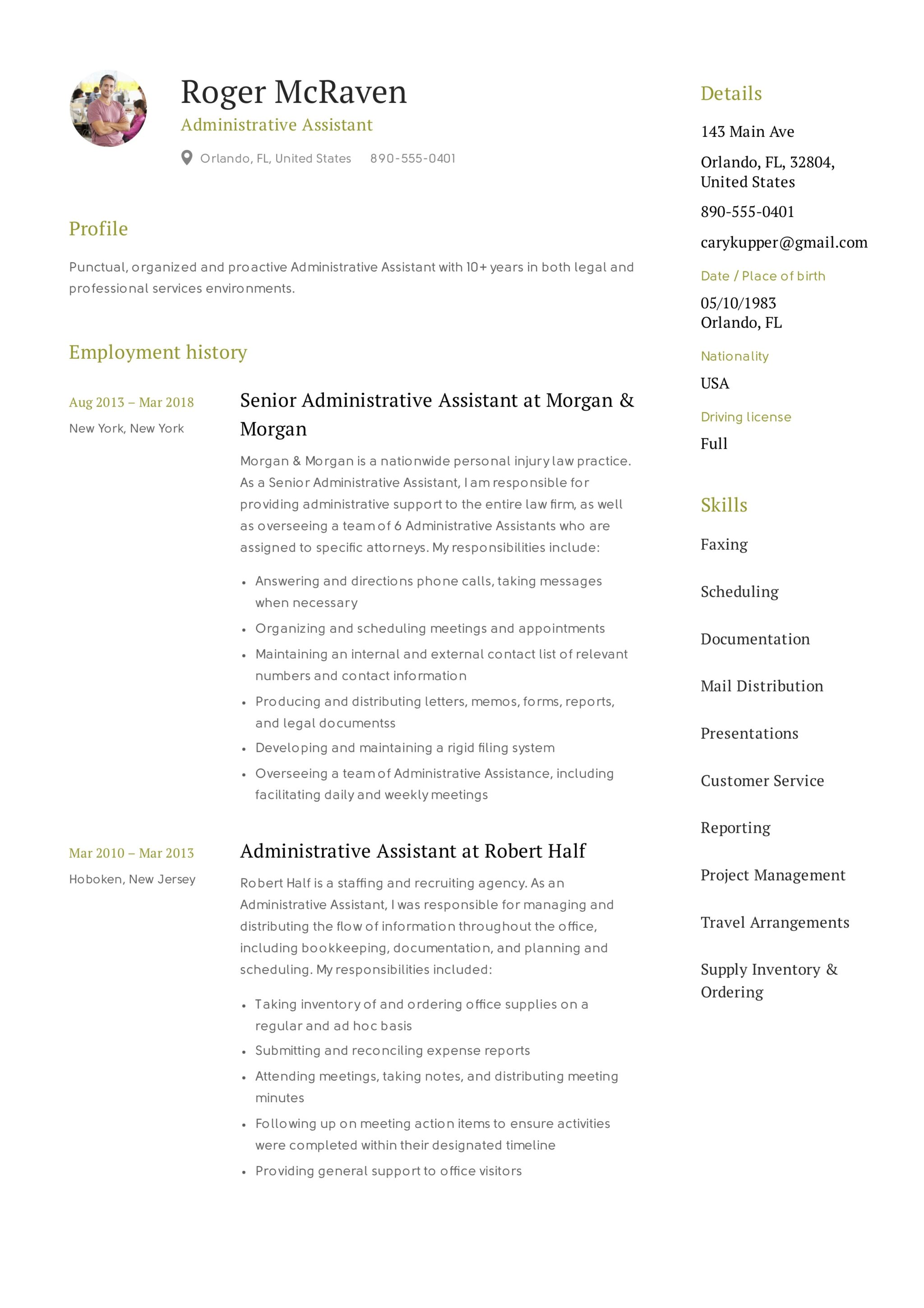 Administrative Assistant Resume Summary Full Guide Administrative Assistant Resume 43 12 Samples