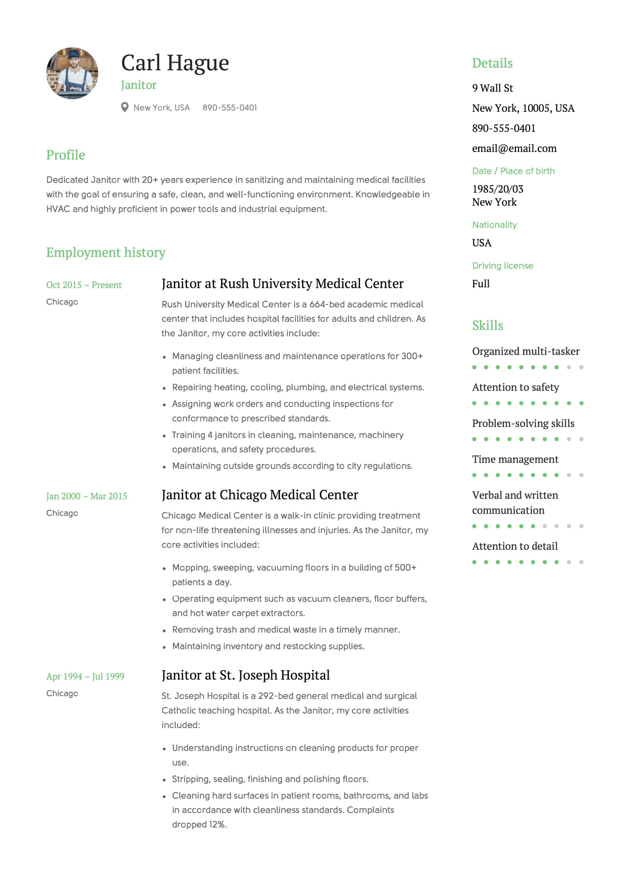 Resume For Janitor 12 Janitor Resume Sample S 2018 Free Downloads