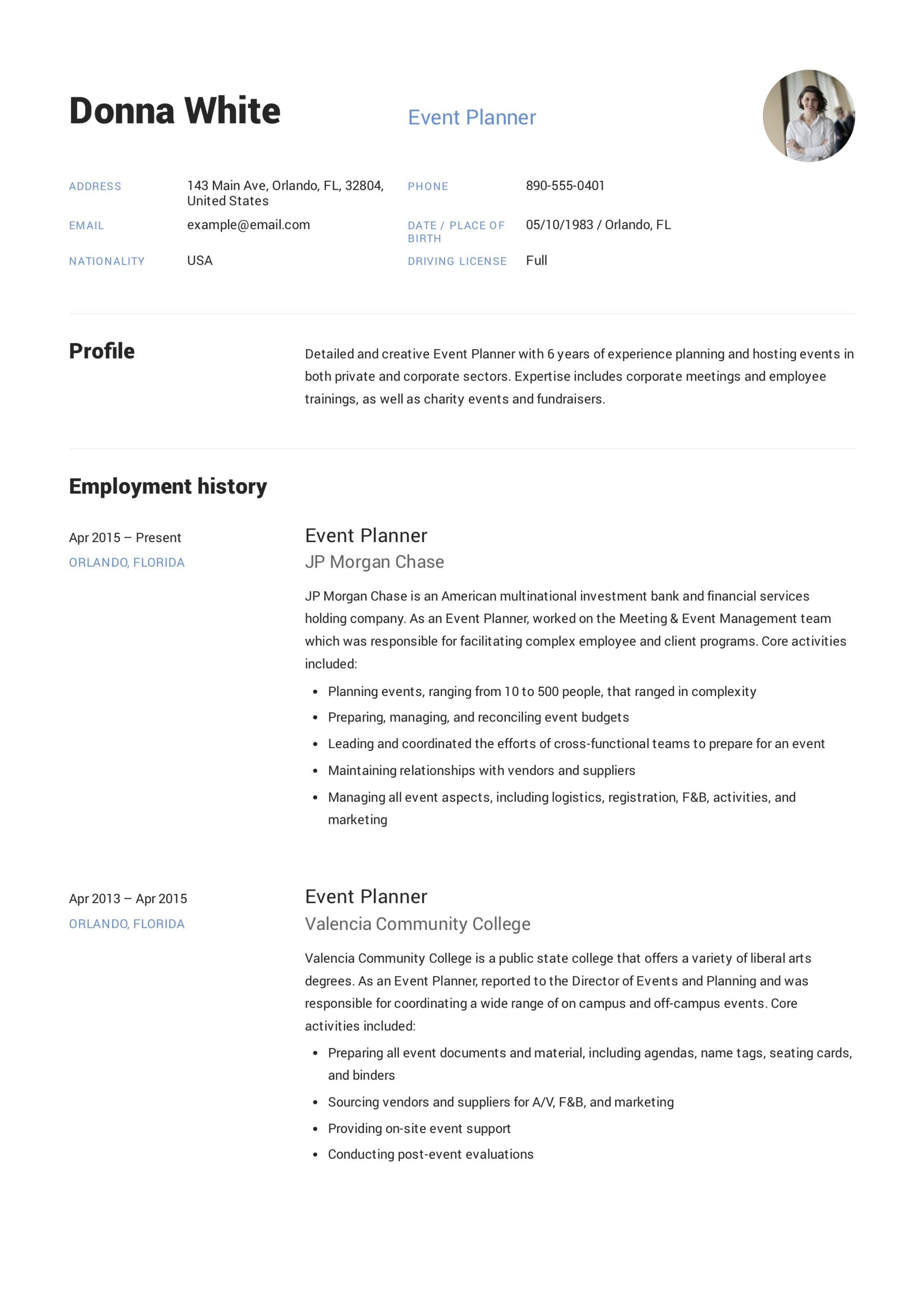 Wedding Planner Resume Sample Guide Event Planner Resume 43 12 Samples Pdf And Word