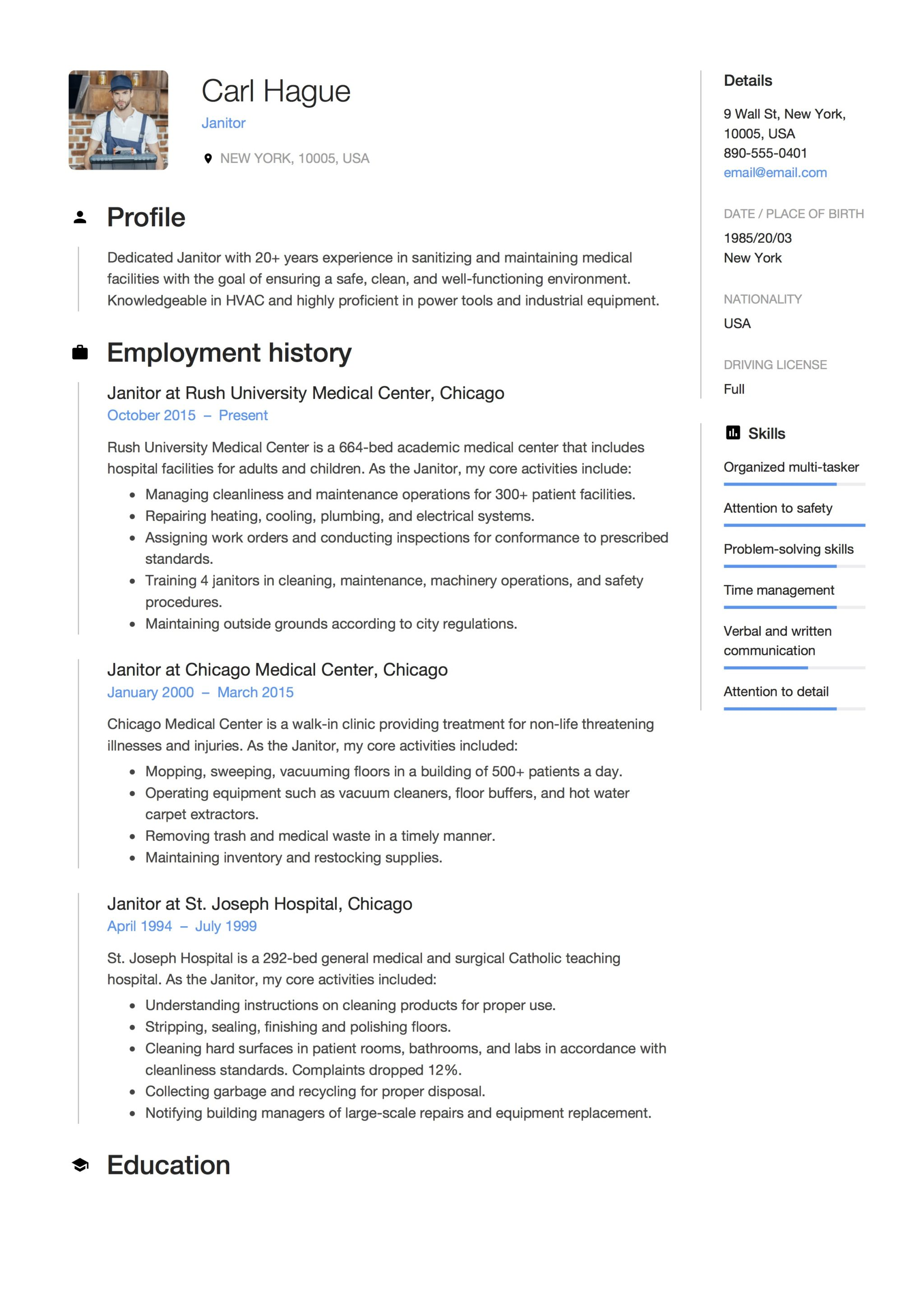 Resume Examples For Janitorial Position 12 Janitor Resume Sample S 2018 Free Downloads
