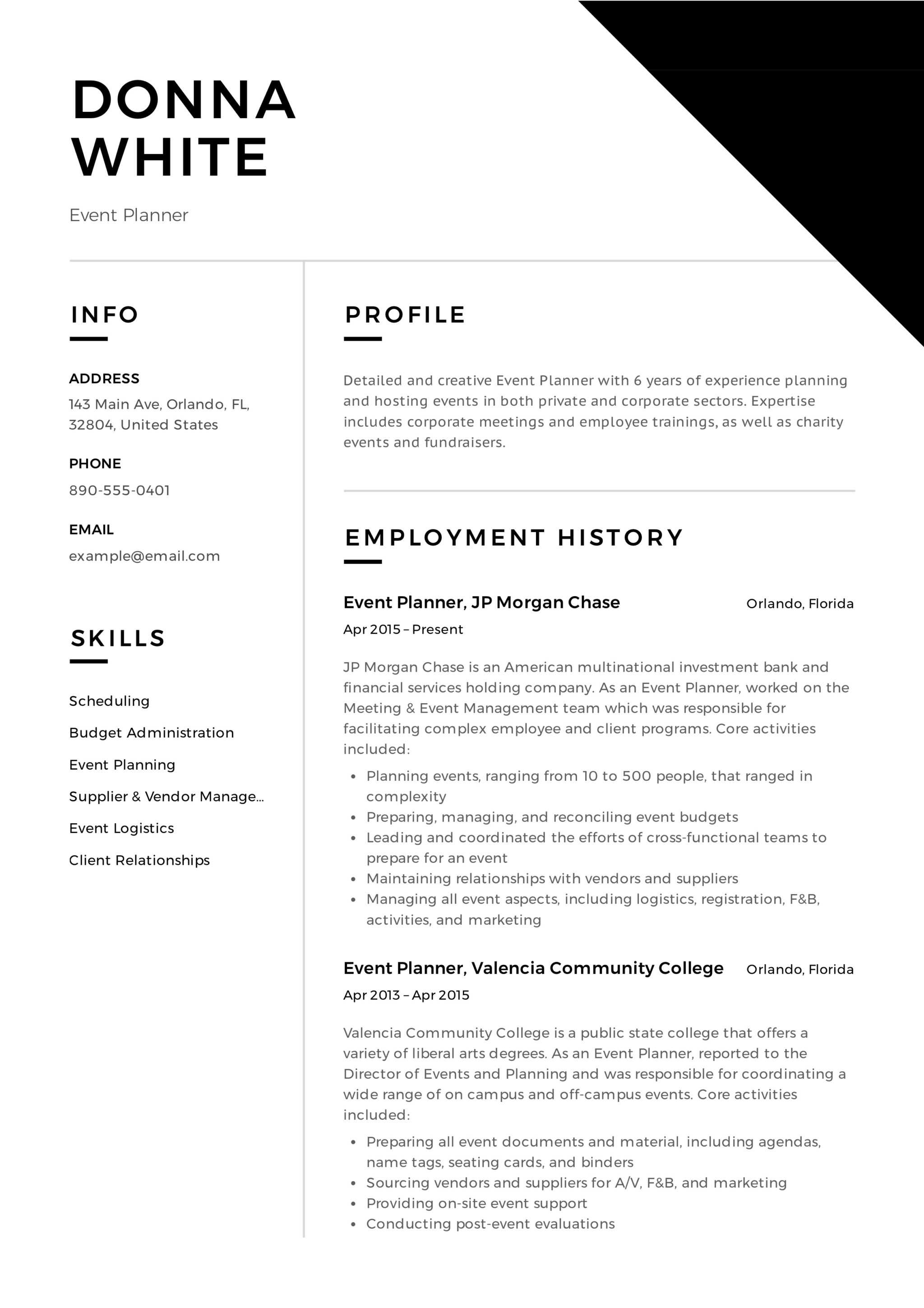 Wedding Planner Resume Sample 12 Event Planner Resume Sample S 2018 Free Download