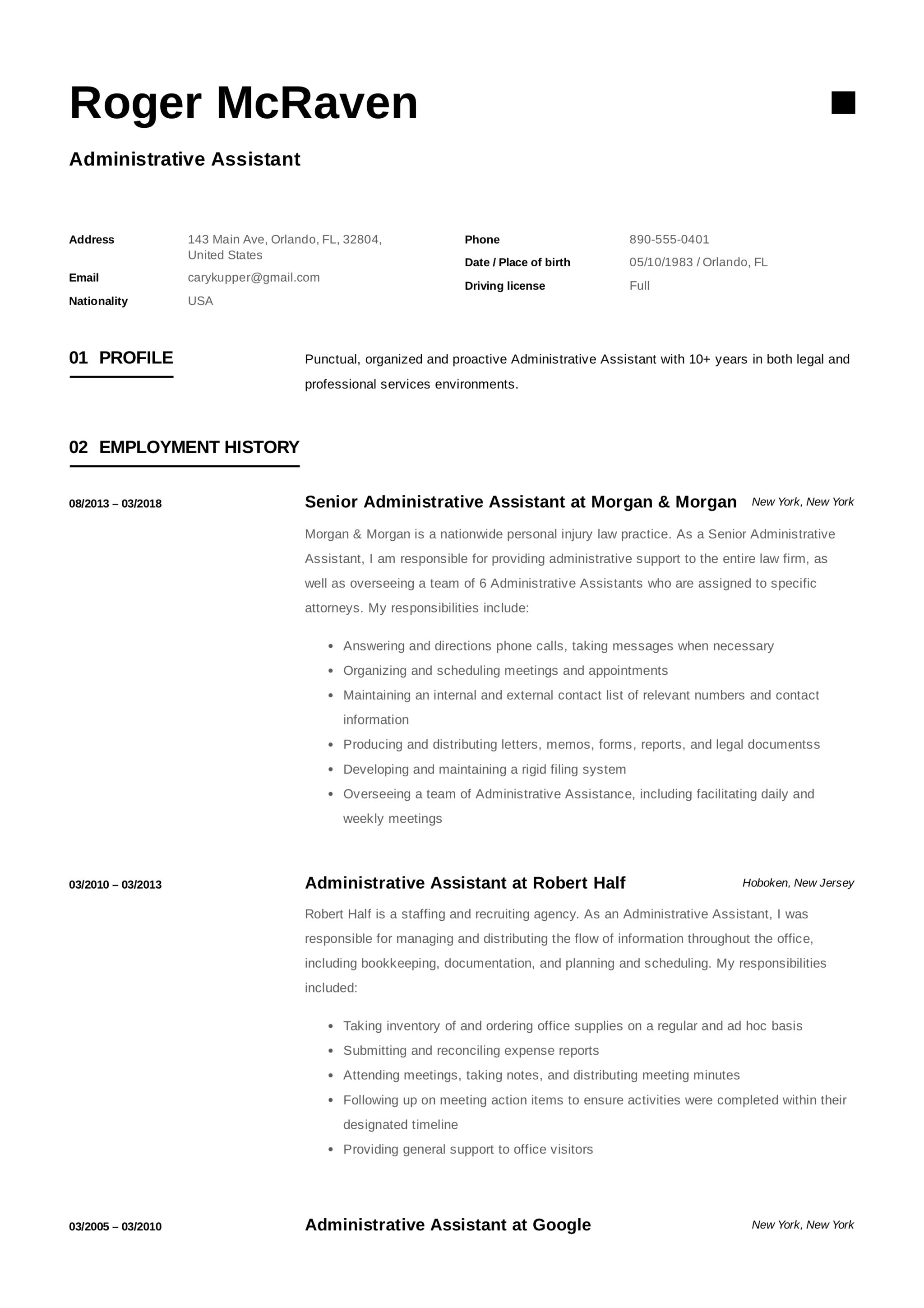 Example Administrative Assistant Resume Full Guide Administrative Assistant Resume 12 Samples Pdf