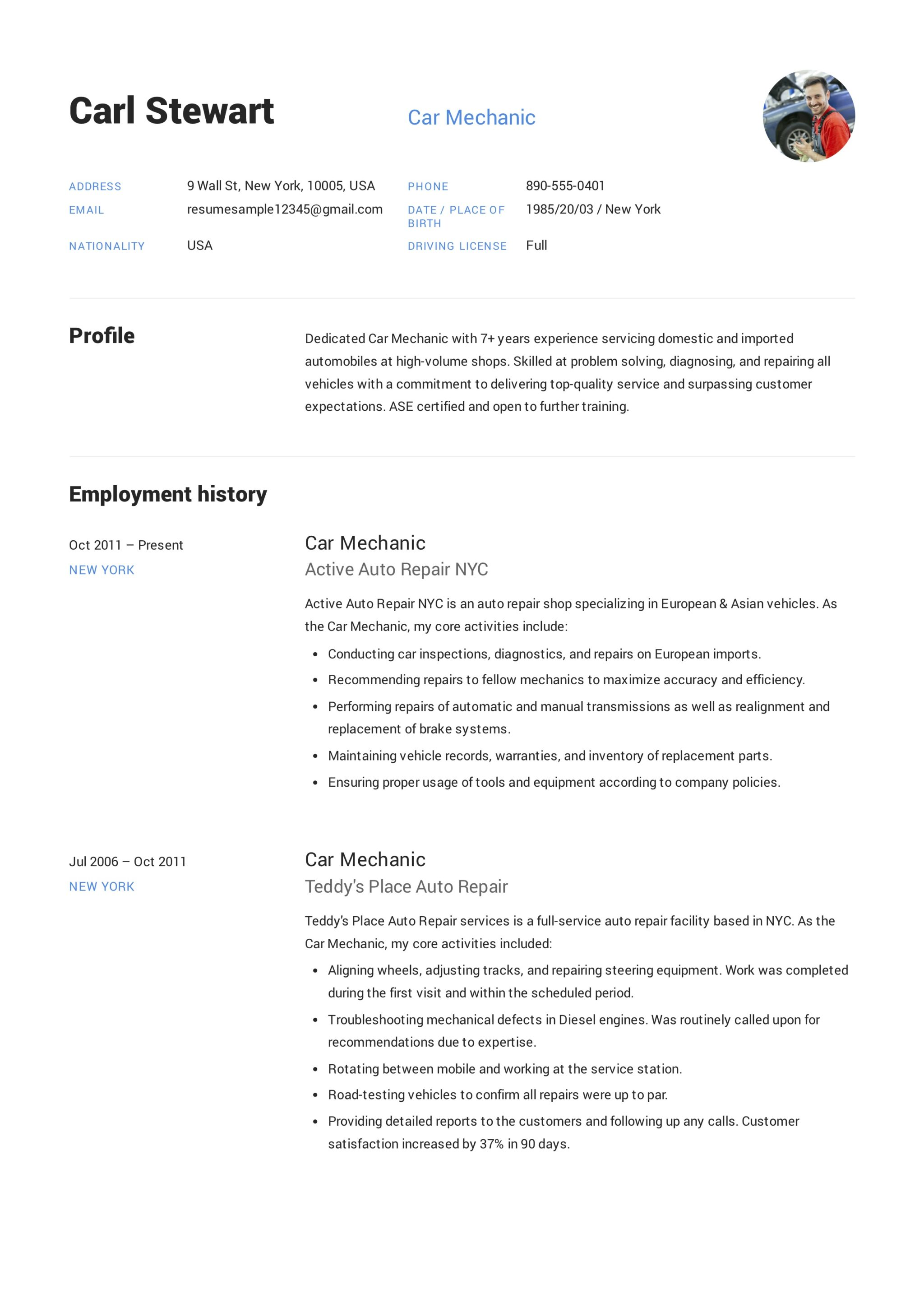 Mechanic Resume Template 12 Car Mechanic Resume Sample S 2018 Free Downloads