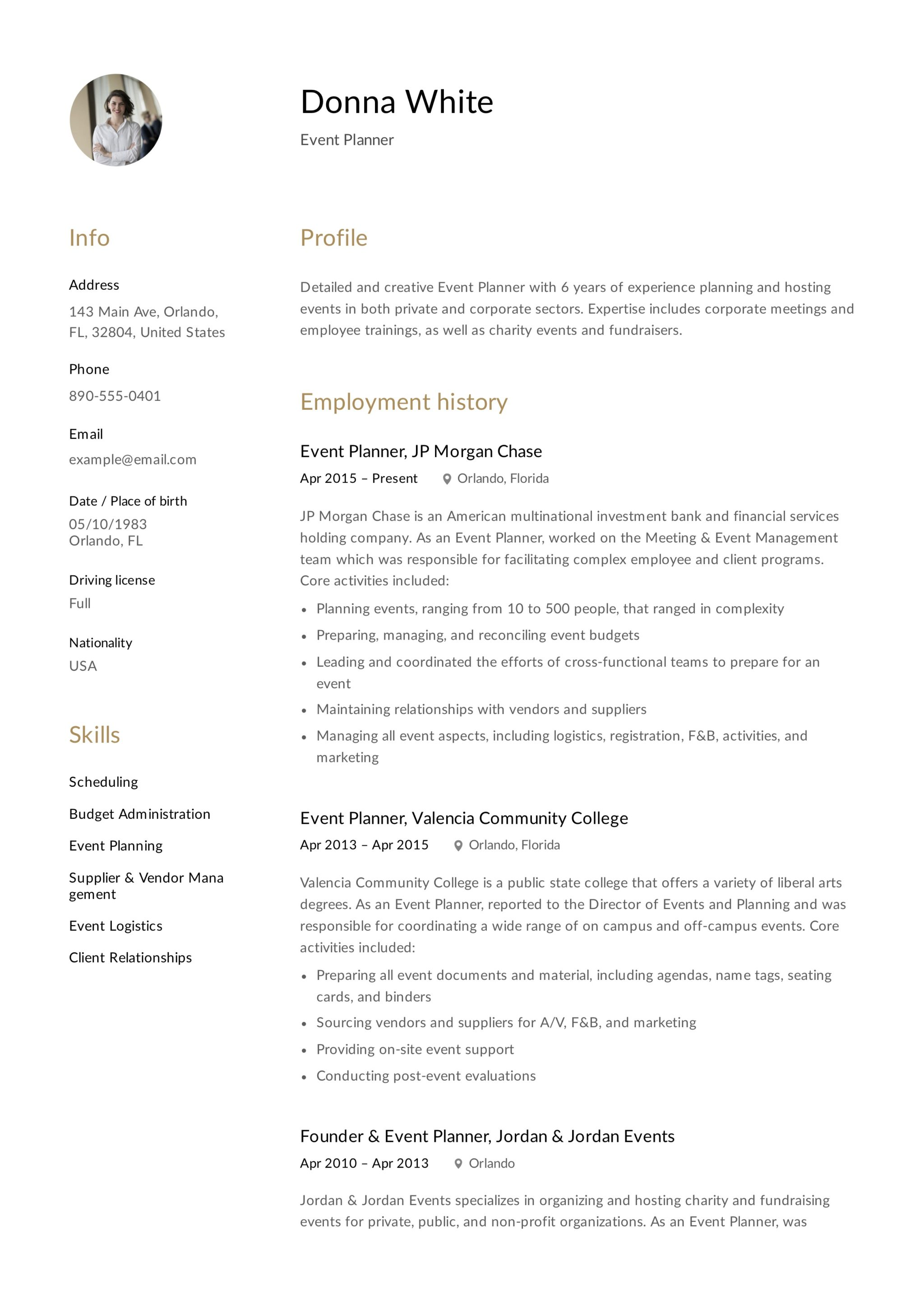 Wedding Planner Resume Sample Resume Template Event Planner Resumeviking