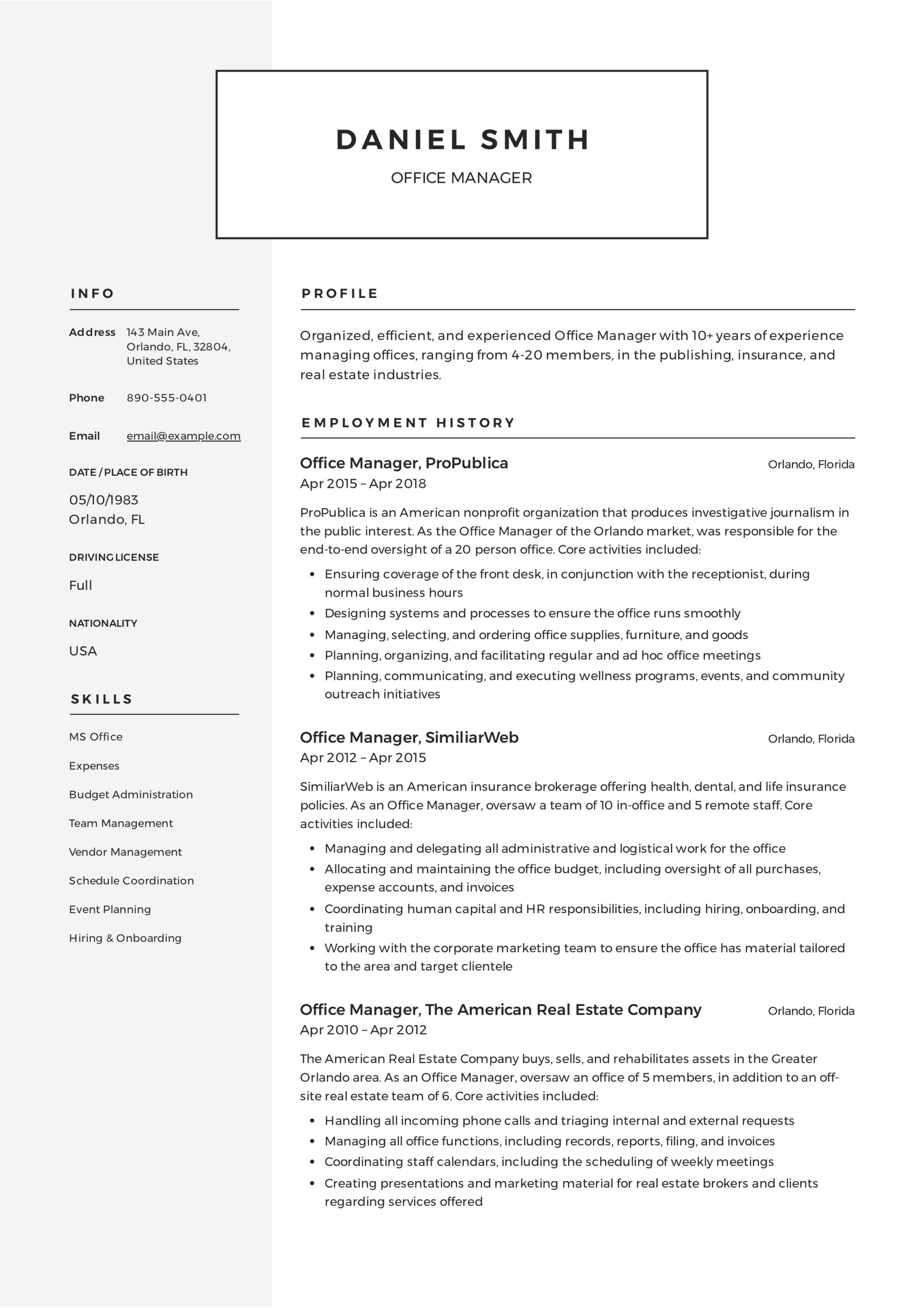 Sample Resume For Office Administrator Guide Office Manager Resume 43 12 Samples Pdf 2019