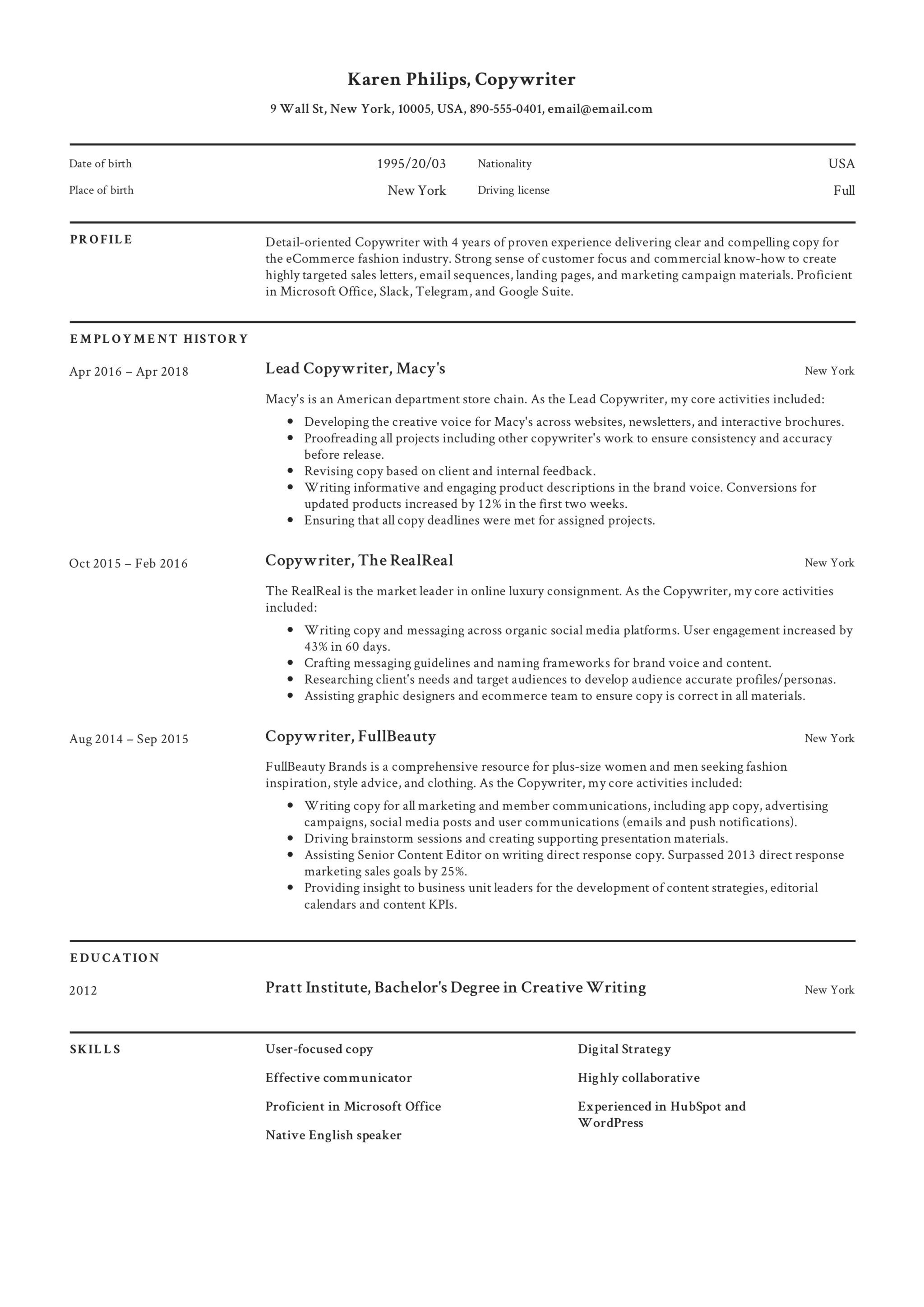 Website Copywriter Cover Letter Guide 12 Different Copywriter Resume Samples 2019 Pdf