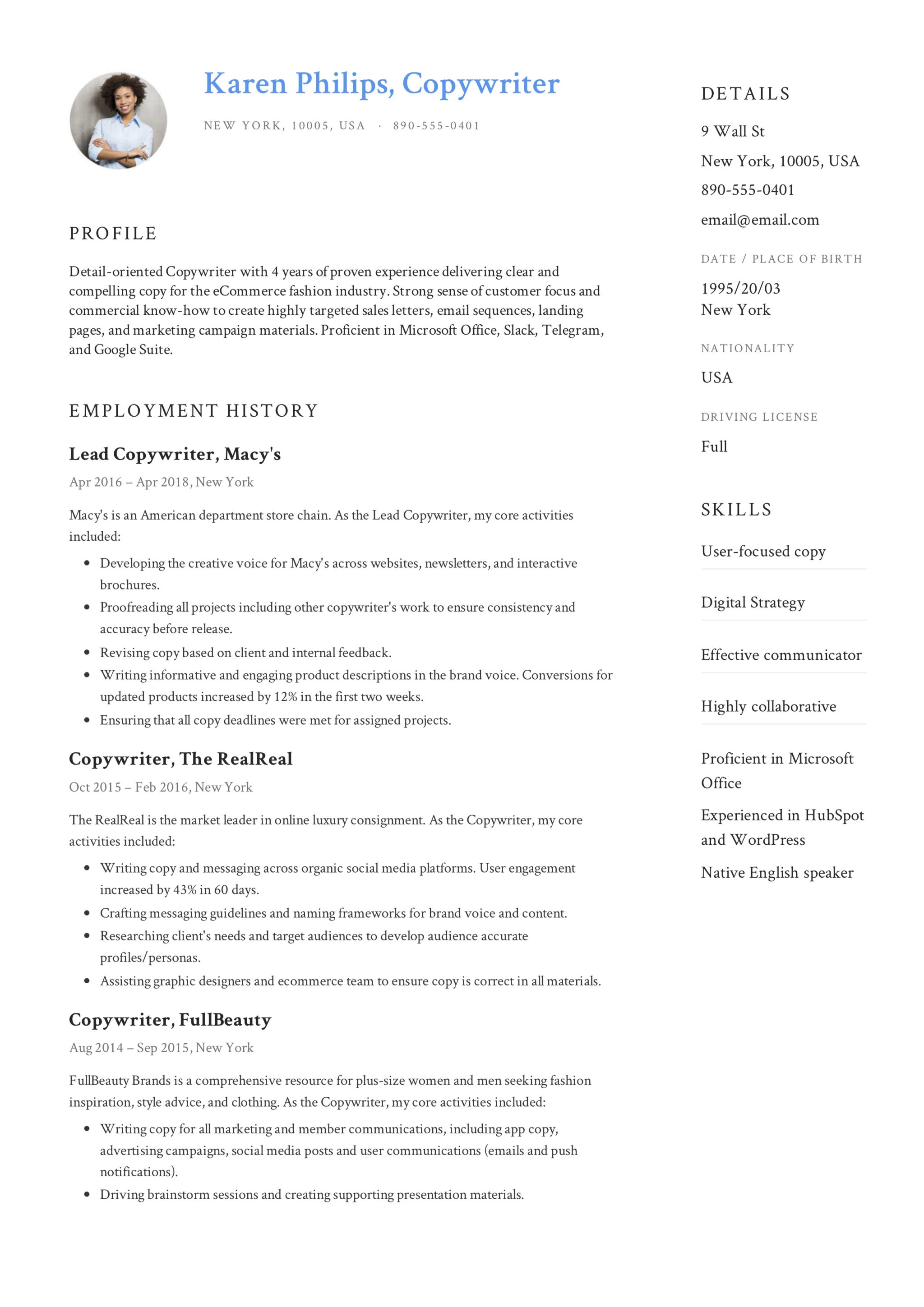 Example Of Resumes Guide 12 Different Copywriter Resume Samples 2019 Pdf