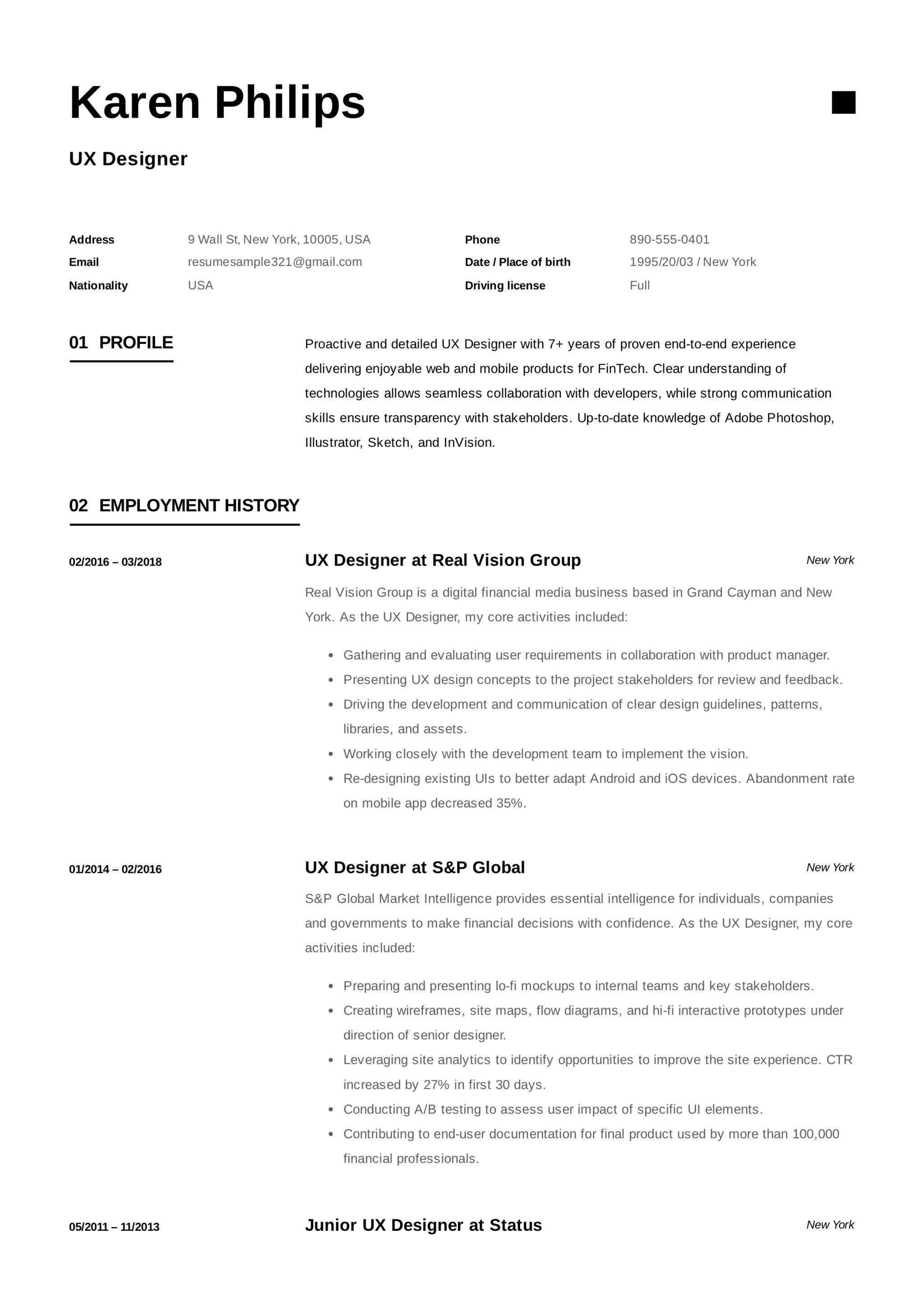 Ux Designer Resume Objective 12 Ux Designer Resume Sample S Resumeviking 2018