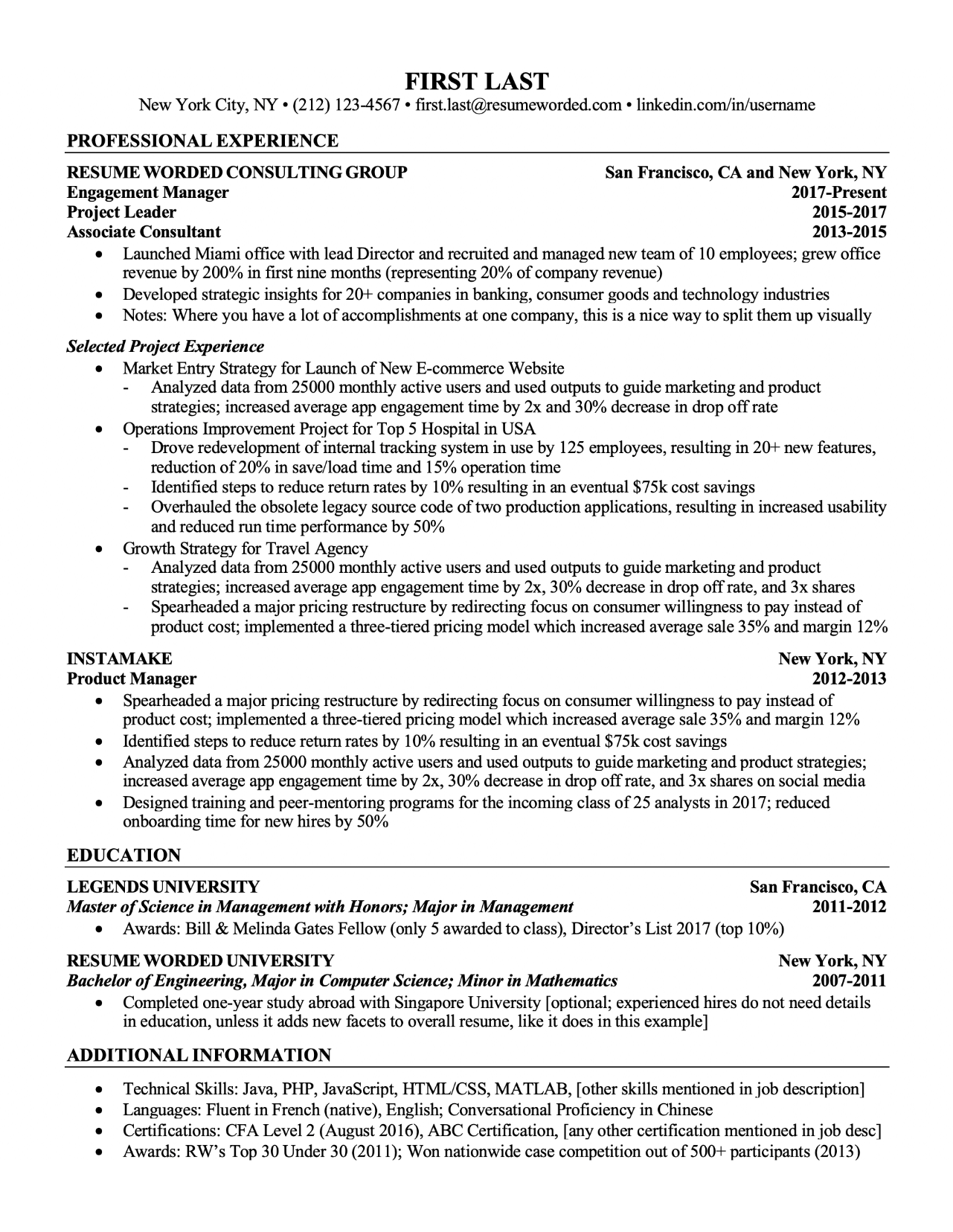 resume projects template