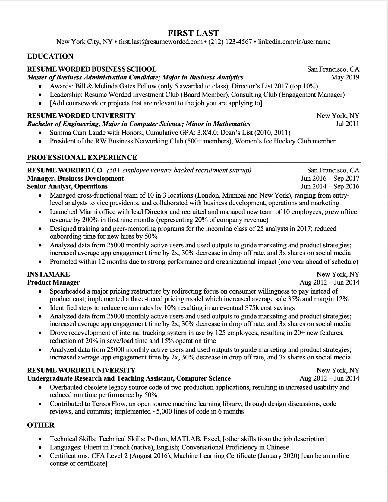 Template Of A Resume Professional Ats Resume Templates For Experienced Hires And