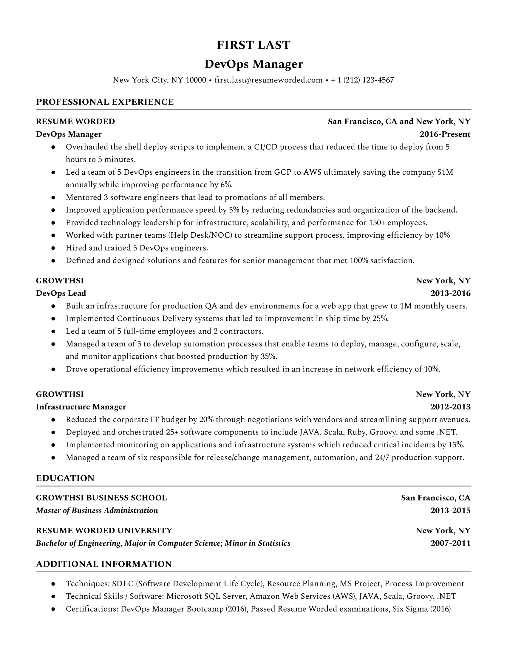 The hardest part is getting started. Devops Manager Resume Example For 2021 Resume Worded Resume Worded
