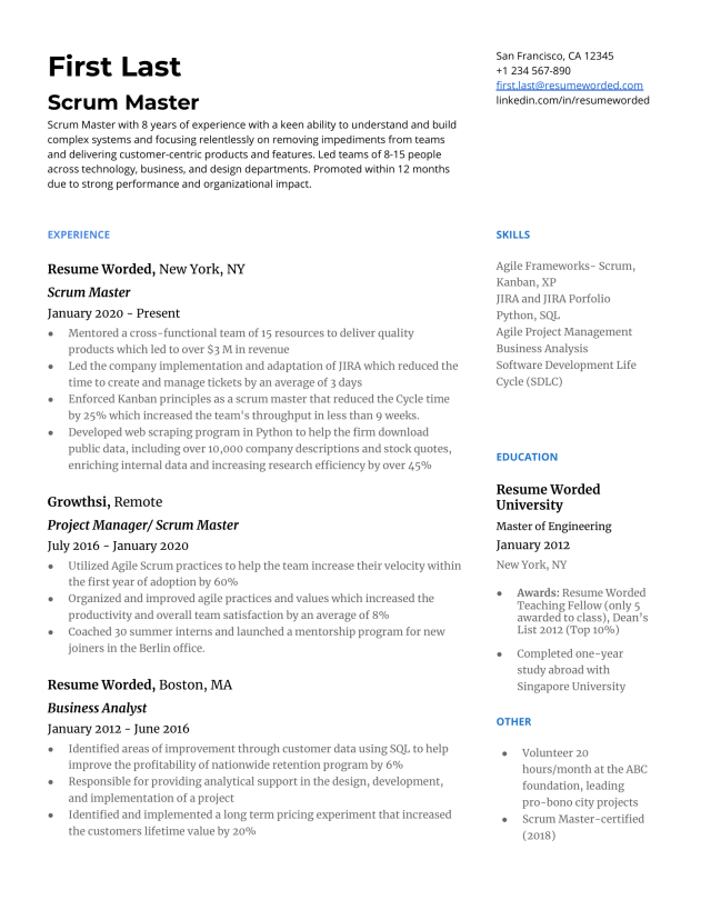 28 Scrum Master Resume Examples for 28  Resume Worded  Resume