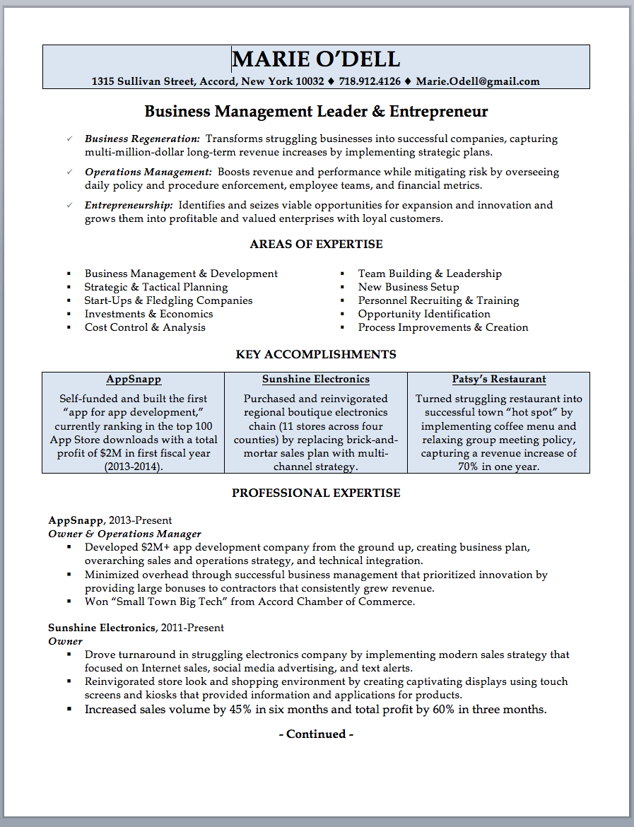 Business Owner Resume Sample & Writing Guide RWD