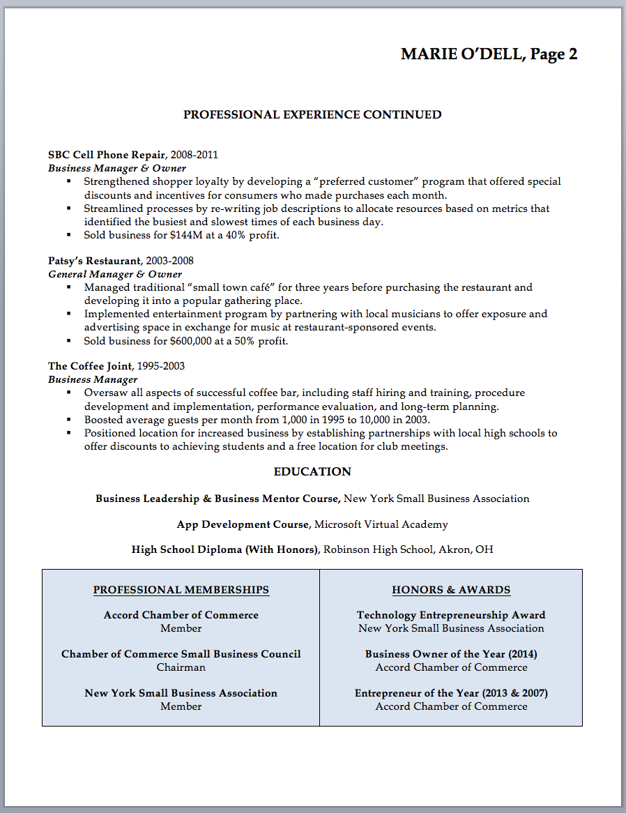 Example Resumes Business Owner Resume Sample Writing Guide Rwd