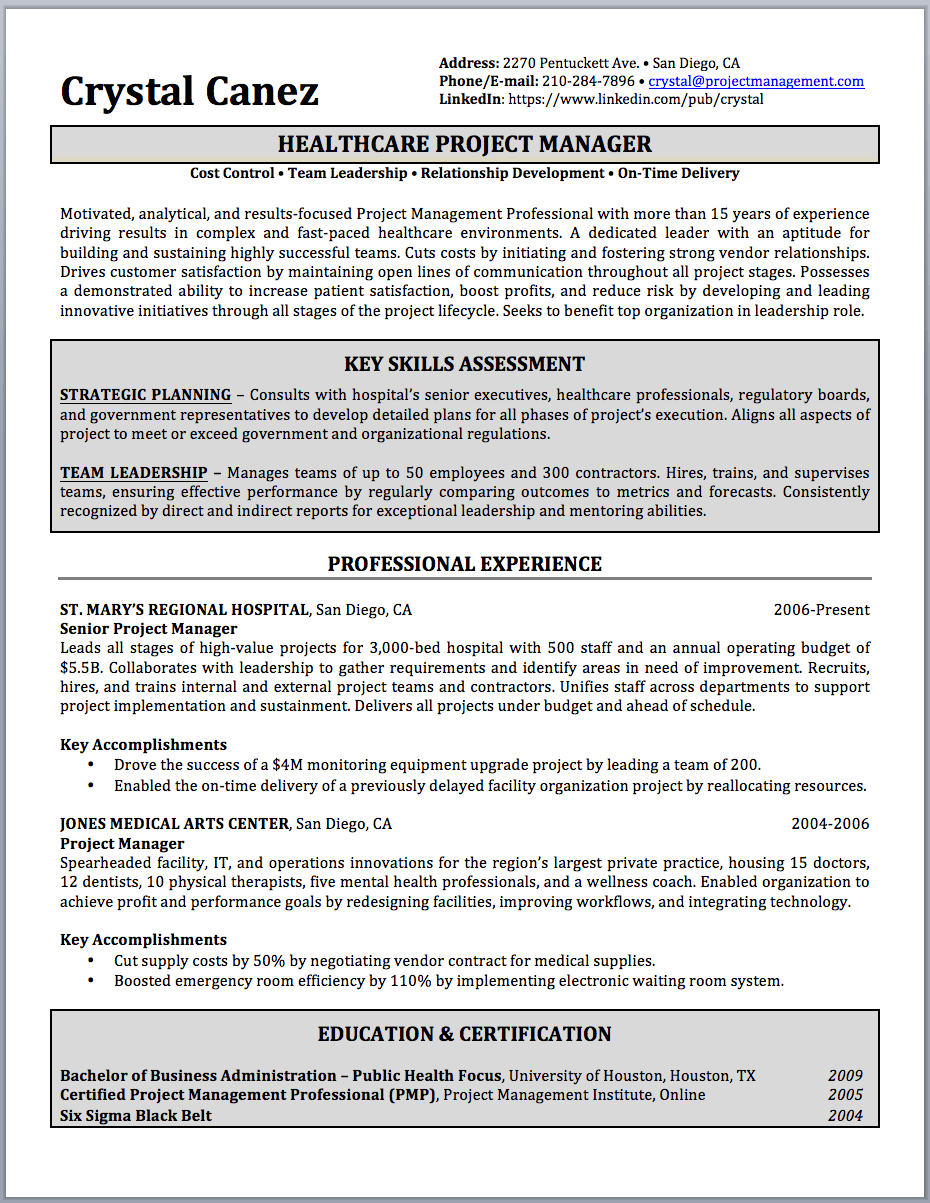 Sample Key Skills For Resume Project Manager Resume Sample And Writing Guide Resume Writer