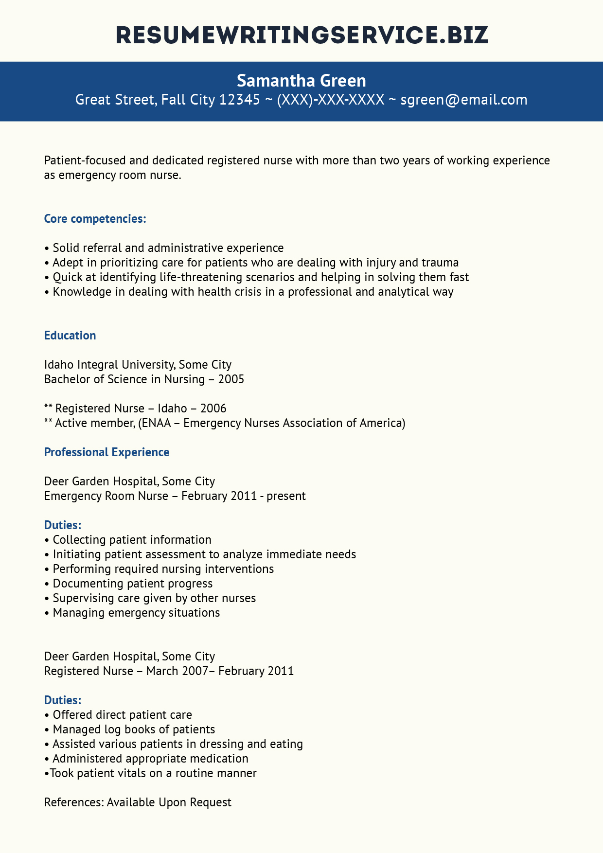 Nurses Resume Format Samples Professional Er Nurse Resume Example Resume Writing Service