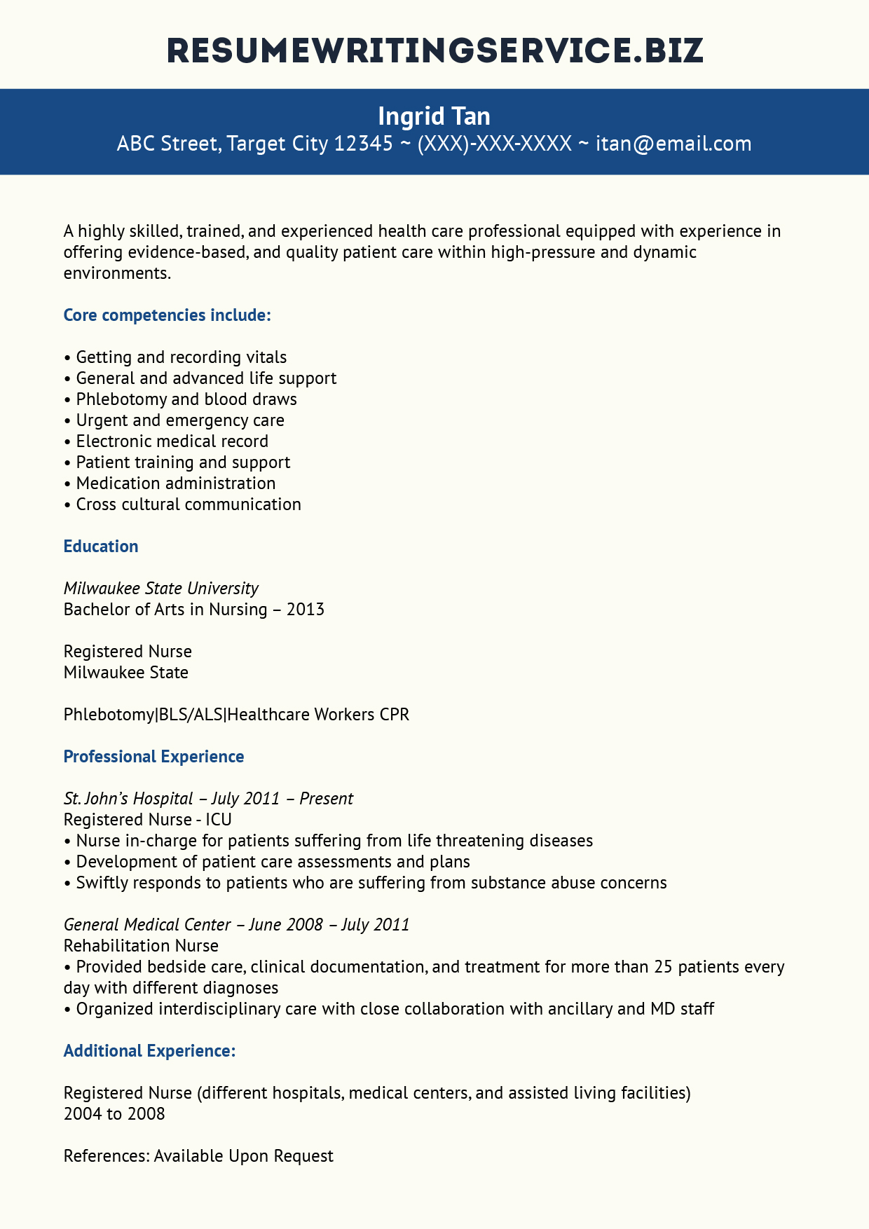 Nurses Resume Format Samples Our Experienced Nurse Resume Example Resume Writing Service