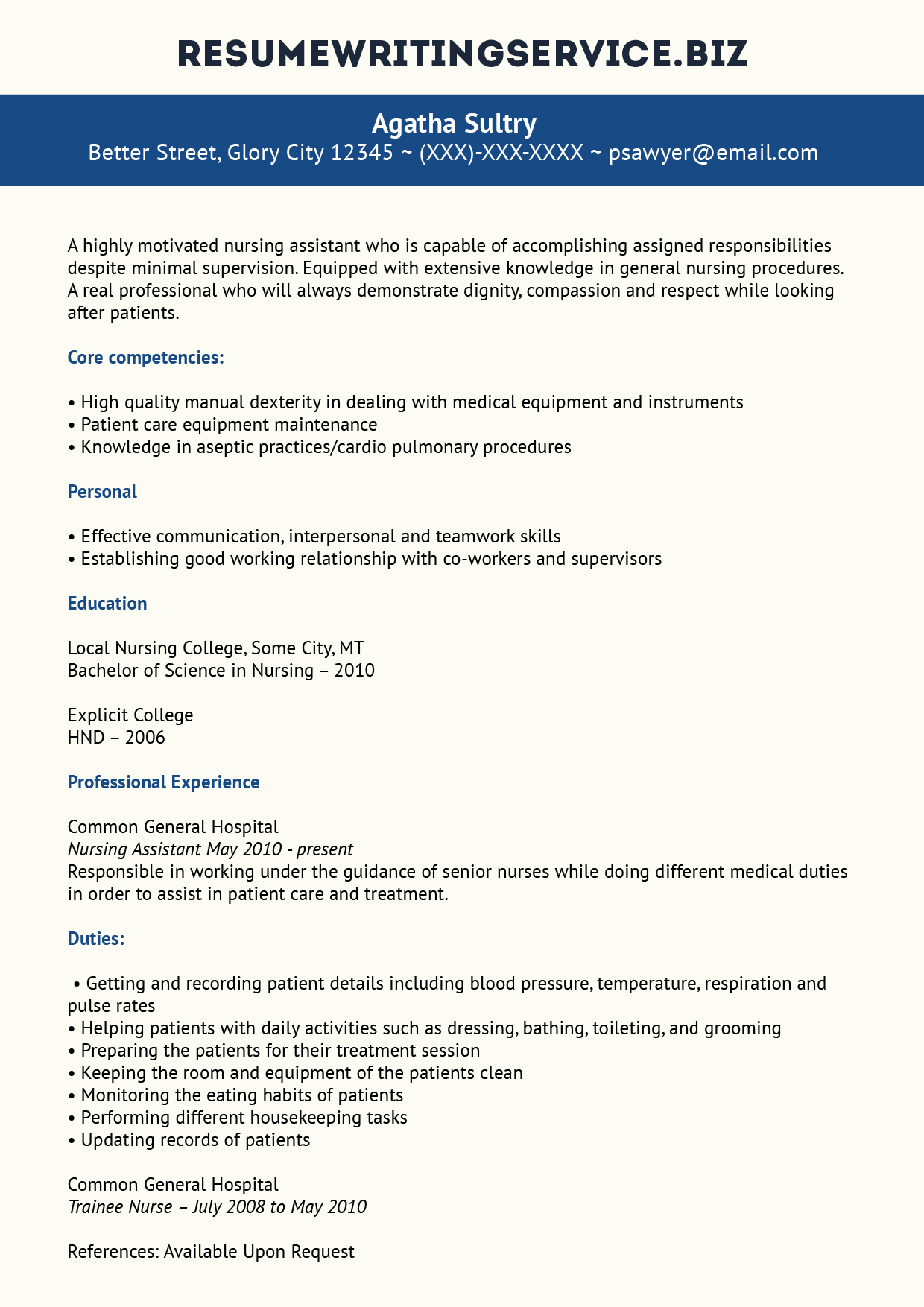 Nursing Resumes That Stand Out Professional Nursing Assistant Resume Example Resume