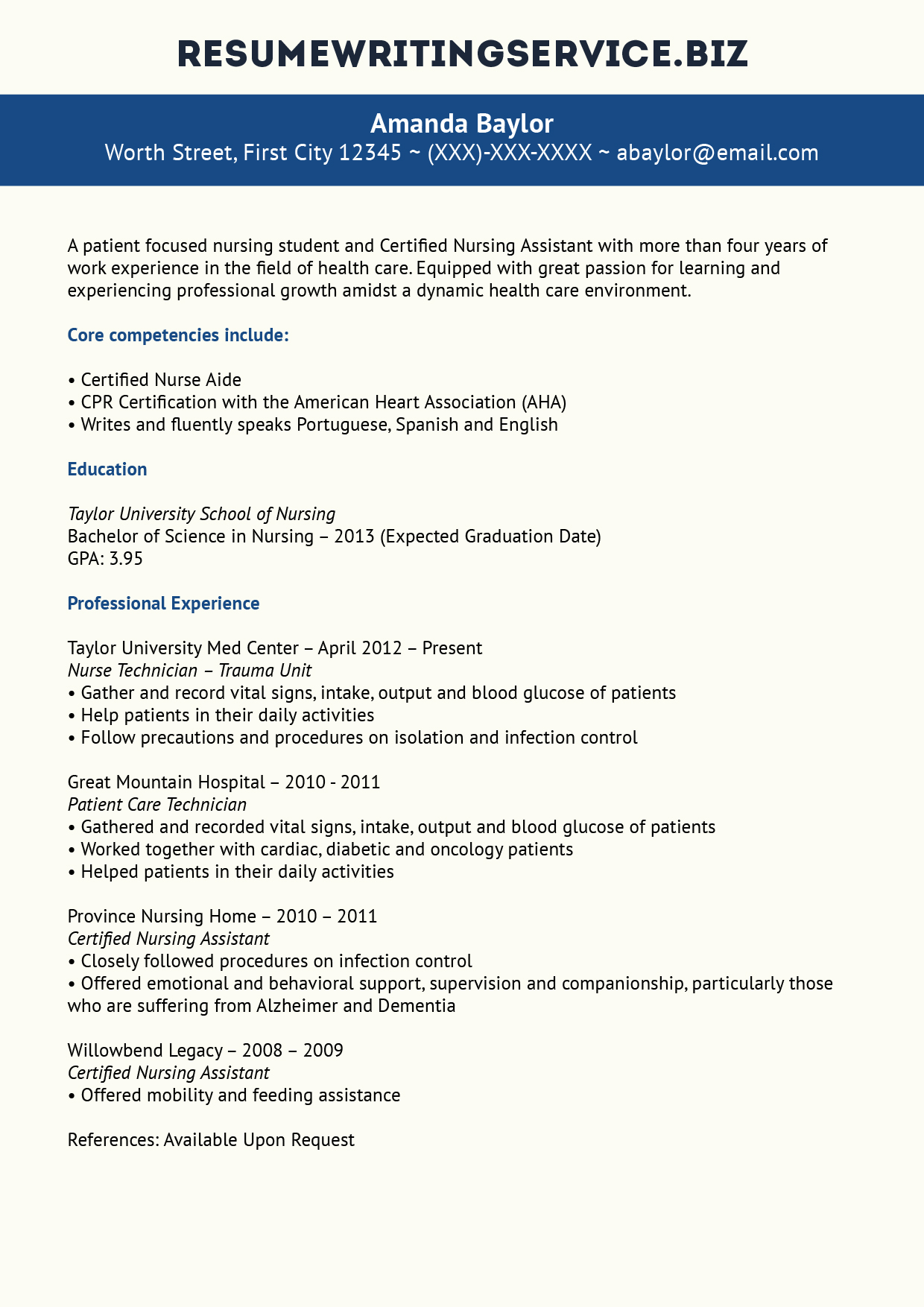 Nj Resume Service Great Nursing Student Resume Sample