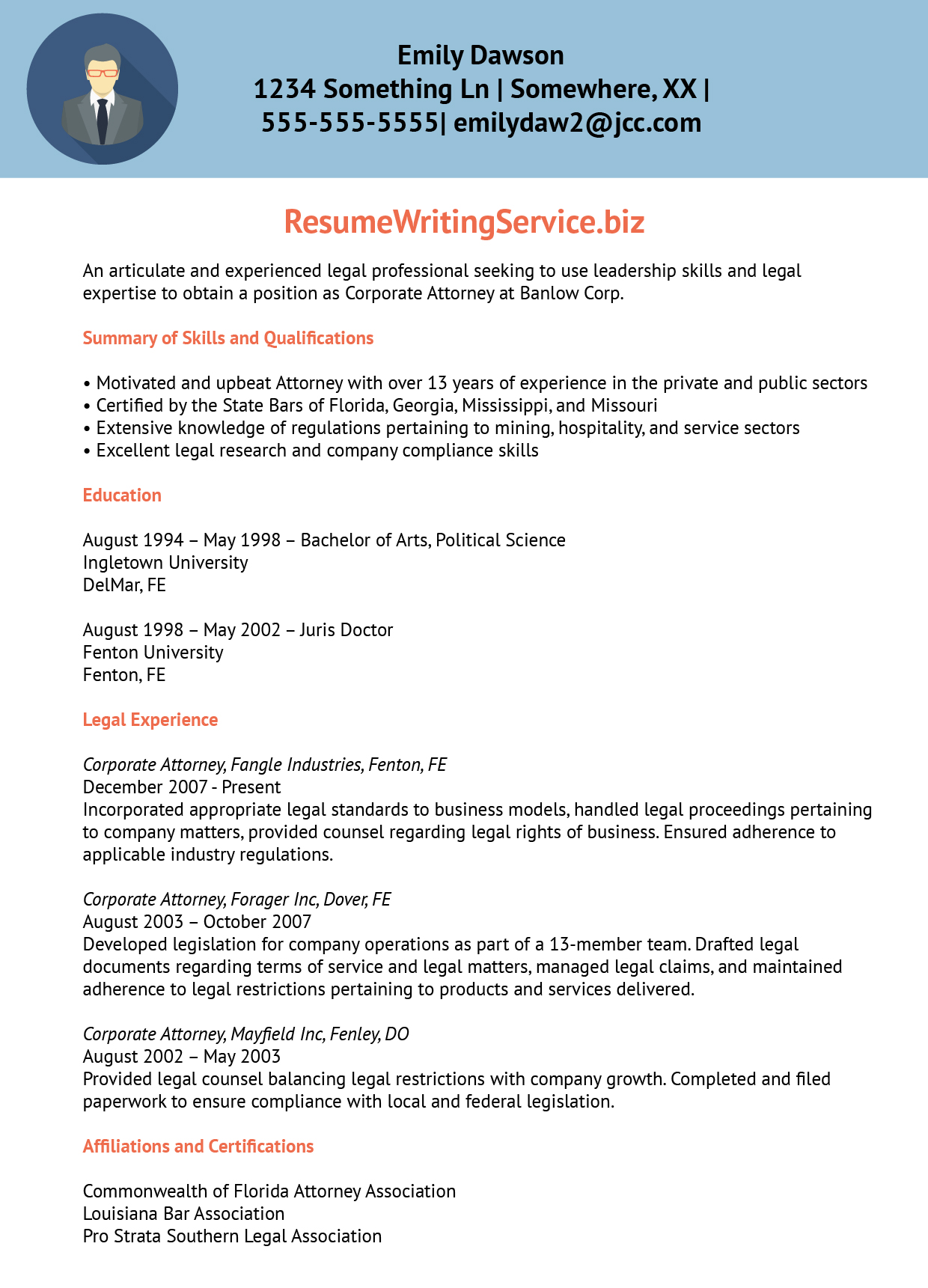 Lawyer Resumes Professional Lawyer Resume Sample