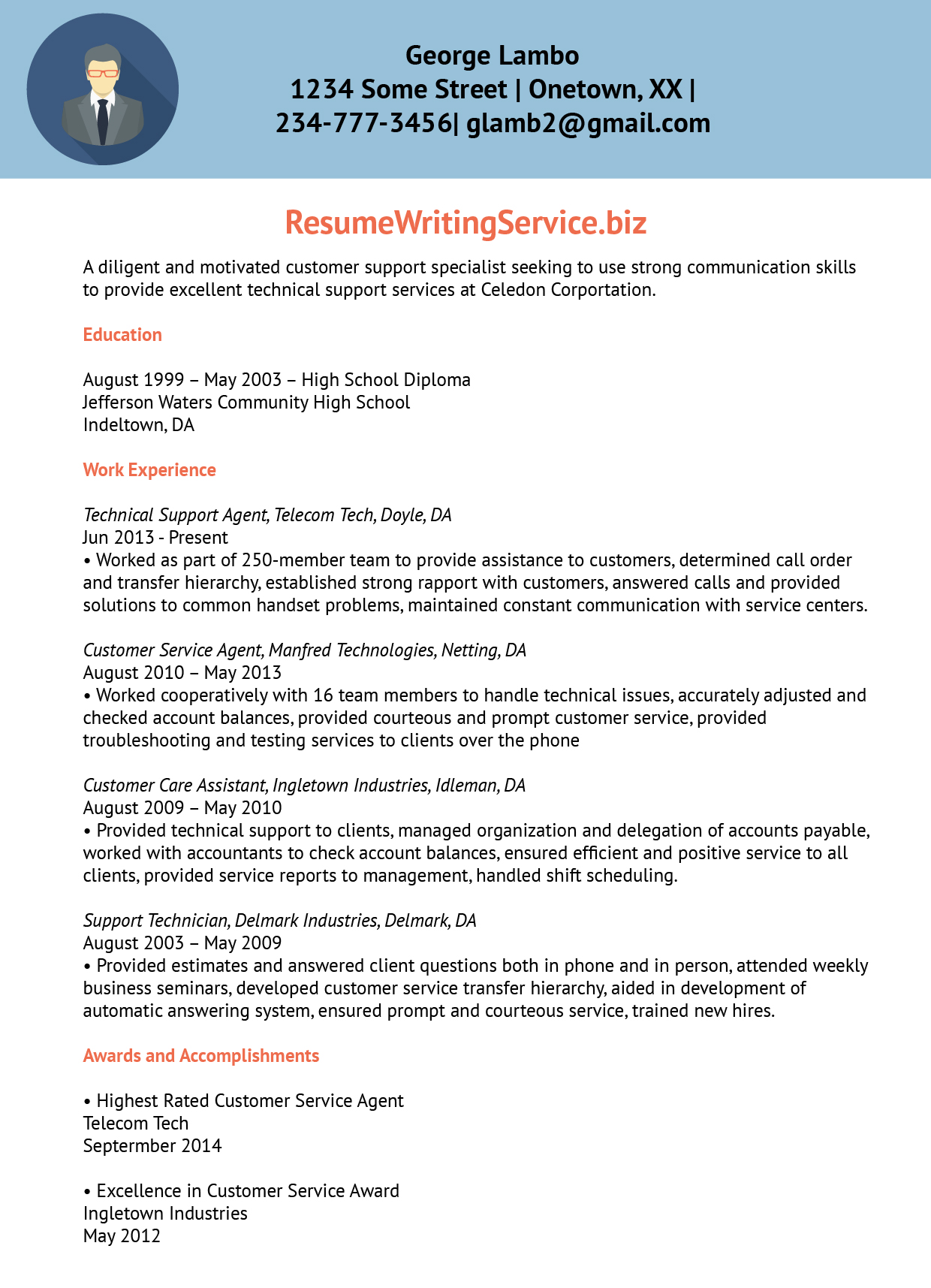 Technical Support Resume Sample Technical Support Agent Resume Sample