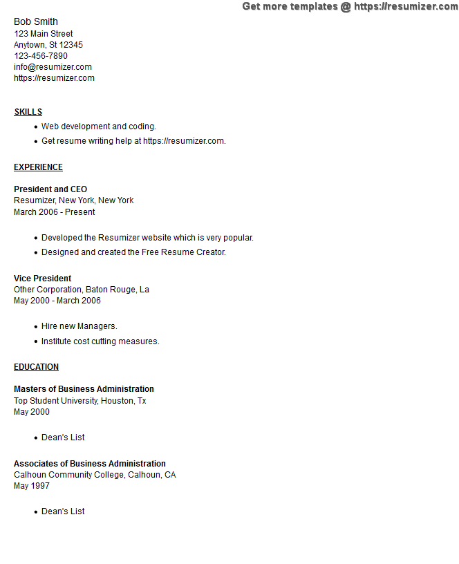 employee resume