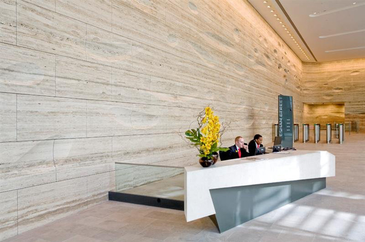 Sculpted travertine wall by Kohn Pedersen Fox  Retail Design Blog
