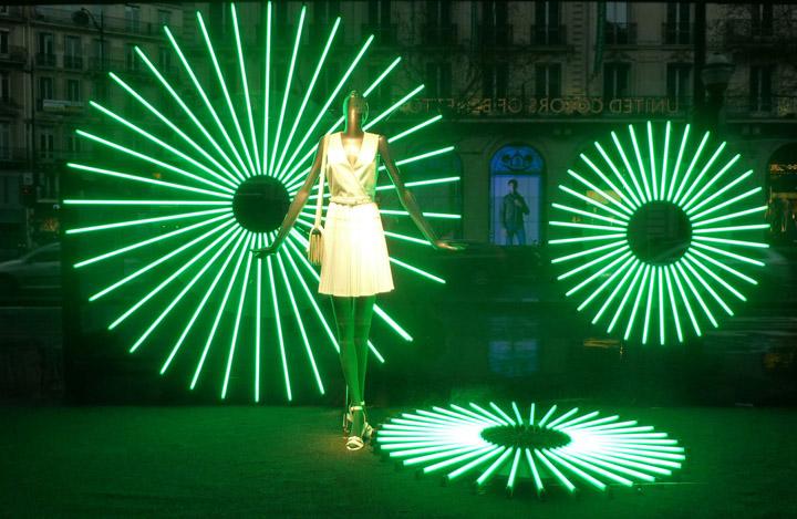 Printemps color  geometric light window display Paris  Retail Design Blog