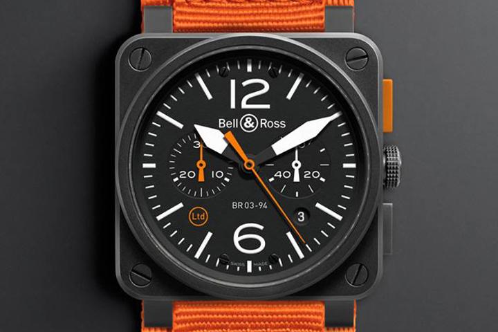 Bell & Ross Br 0394 Carbon Orange Watch » Retail Design Blog