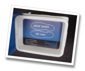 Zappos ad in airport security tray