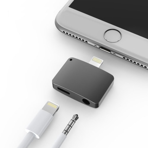 small resolution of black iphone 7 7 plus lightning port to 3 5mm headphone jack and lightning port adapter