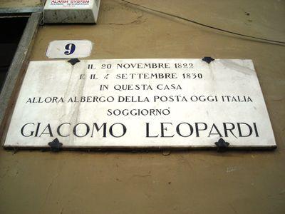 Lapide a Giacomo Leopardi  Guida Spoleto Wiki
