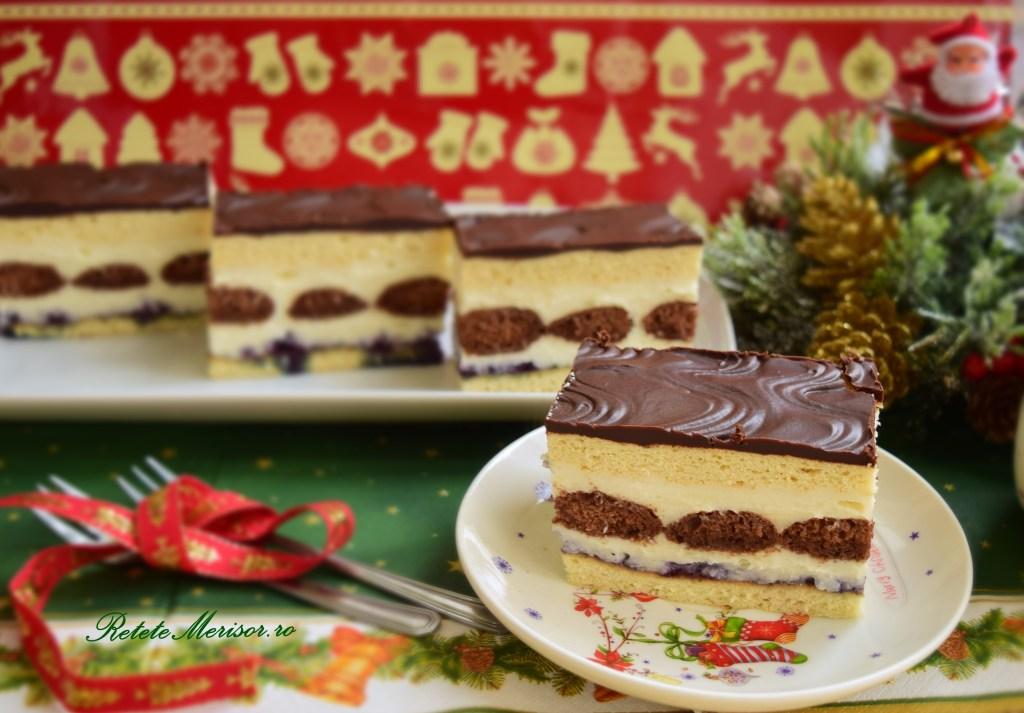 Prăjitura Fantezie cu pișcoturi de cacao și foi albe