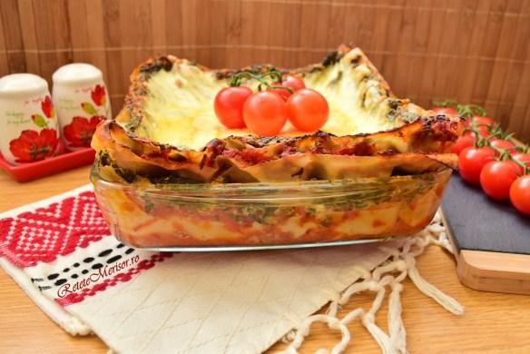 Lasagna cu spanac și brânzeturi