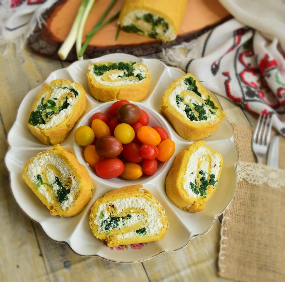 Ruladă din aluat opărit cu brânză și spanac
