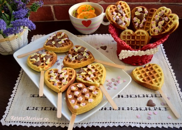 Waffle pops cu ciocolată albă și mac