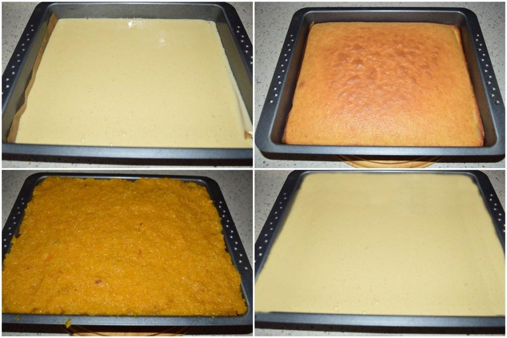 Asamblare prăjitură cu dovleac și aluat turnat