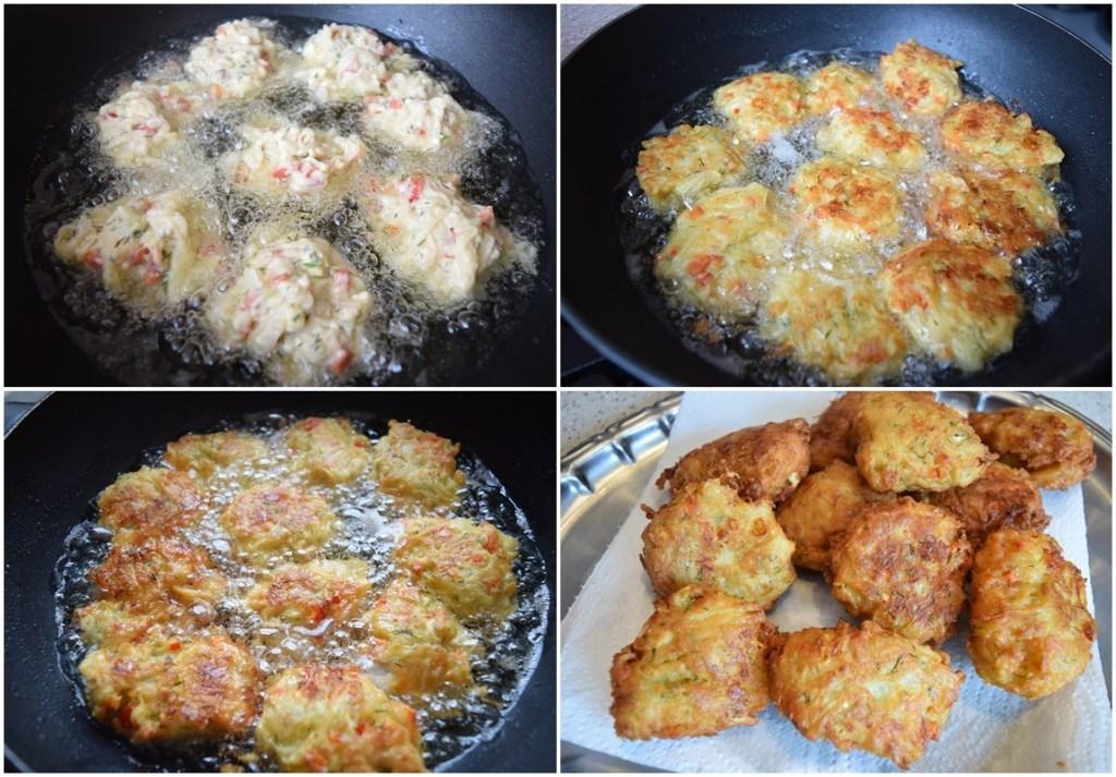 Colaj de poze cu pașii de preparare Chiftele de dovlecei cu brânză și ardei