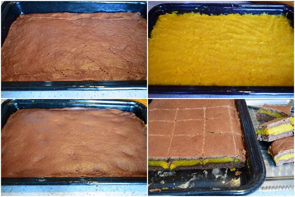 Colaj de poze cu modul de asamblare și coacere a Prăjiturii cu dovleac plăcintar și foi cu cacao