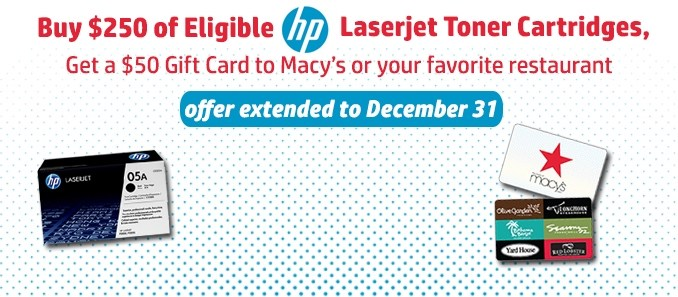 Offer Extended: Get a $50 Rebate When You Buy HP Toner at Office Essentials