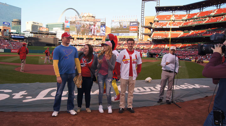 Office Essentials customers throwing out the first pitch at Busch Stadium