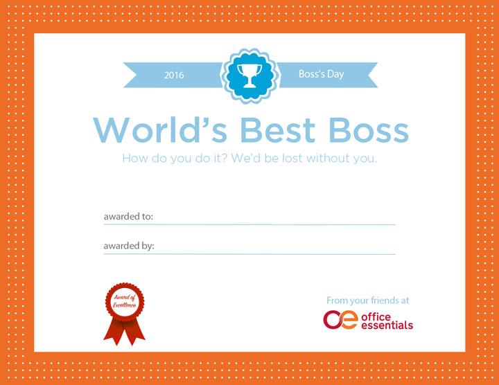 world's best boss printable certificate