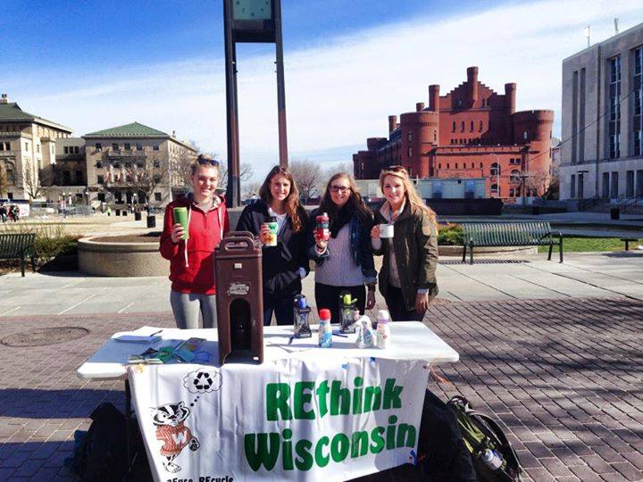 Anna, Brady, Clare and Elise work the Mugs on the Mall event on Wednesday.